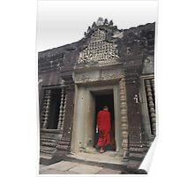 Monk entering an ancient temple in Angkor Wat, Cambodia Poster