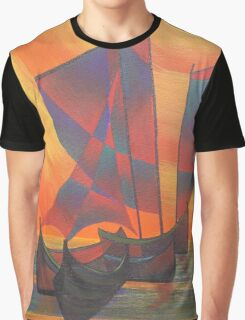 Red Sails in the Sunset Cubist Junk Abstract Graphic T-Shirt