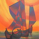 Red Sails in the Sunset Cubist Junk Abstract by taiche