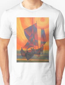 Red Sails in the Sunset Cubist Junk Abstract T-Shirt
