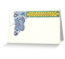 Blue Butterfly & Knotwork Border Pen & Ink Drawing Greeting Card