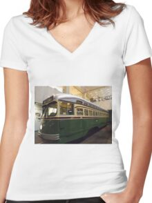 Vintage Philadelphia PCC Trolley, SEPTA Museum, Philadelphia, Pennsylvania  Women's Fitted V-Neck T-Shirt