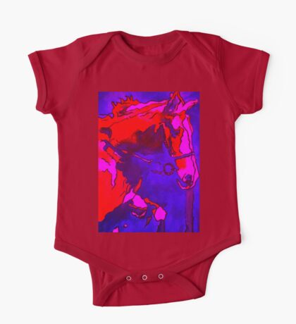 Pony In Neon Pink and Blue One Piece - Short Sleeve