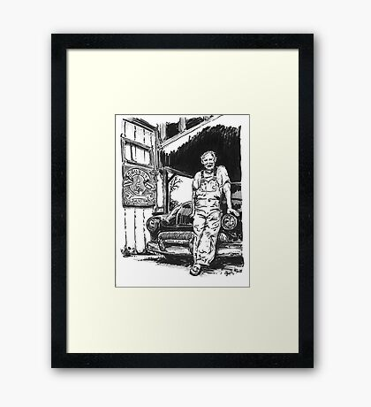 Grubby Brothers Garage Framed Print