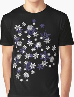 Blue and White Holiday Snowflakes Graphic T-Shirt