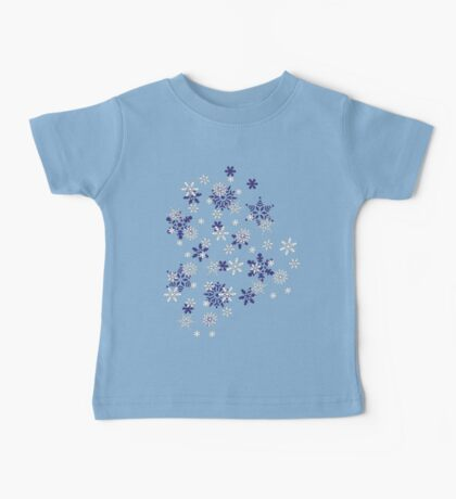 Blue and White Holiday Snowflakes Baby Tee