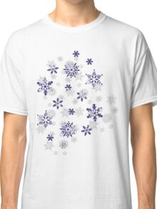 Blue and White Holiday Snowflakes Classic T-Shirt