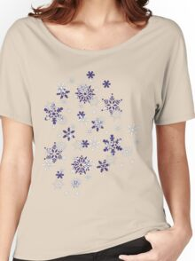 Blue and White Holiday Snowflakes Women's Relaxed Fit T-Shirt