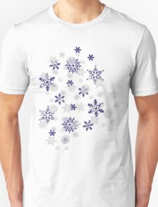 Blue and White Holiday Snowflakes T-Shirt