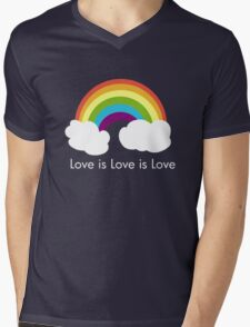 Love is Love is Love- Rainbow Mens V-Neck T-Shirt