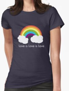 Love is Love is Love- Rainbow Womens Fitted T-Shirt