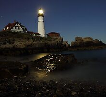 Portland Headlight by Night by Kristi Harkins