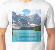 Moraine Lake Psalm 121:1,2,7 Unisex T-Shirt