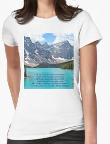 Moraine Lake Psalm 121:1,2,7 Womens Fitted T-Shirt