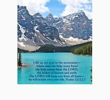 Moraine Lake Psalm 121:1,2,7 Unisex T-Shirt