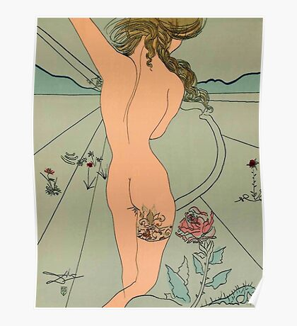 Dali Homage Nude with Garter Poster
