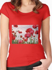 Field of Poppies Against Grey Sky  Women's Fitted Scoop T-Shirt