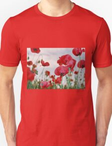Field of Poppies Against Grey Sky  T-Shirt