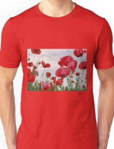 Field of Poppies Against Grey Sky  Unisex T-Shirt