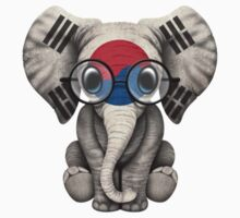 Baby Elephant with Glasses and South Korean Flag Baby Tee
