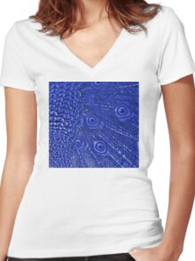 Mommy and her little one matching Blue Peacock QTees Women's Fitted V-Neck T-Shirt