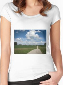 country lane with cumulus Women's Fitted Scoop T-Shirt