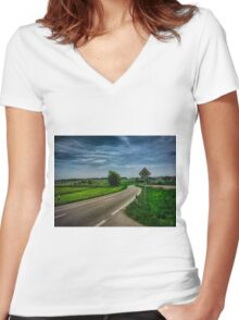 right of way landscape Women's Fitted V-Neck T-Shirt