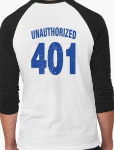 Team shirt - 401 Unauthorized, blue letters Men's Baseball ¾ T-Shirt