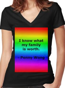 Penny Wong's Family Women's Fitted V-Neck T-Shirt