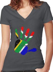 Flag of South Africa Handprint Women's Fitted V-Neck T-Shirt