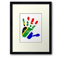 Flag of South Africa Handprint Framed Print