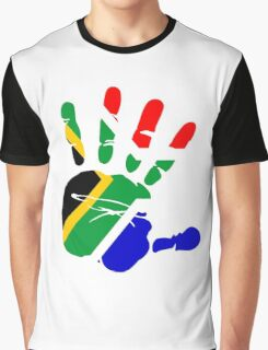 Flag of South Africa Handprint Graphic T-Shirt