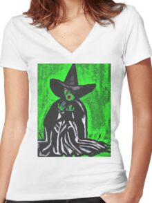 THE MELTING WICKED WITCH  Women's Fitted V-Neck T-Shirt