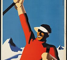 Vintage poster - Skiing Austria by mosfunky