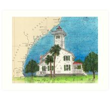 Haig Pt Lighthouse SC Nautical Chart Cathy Peek Art Print