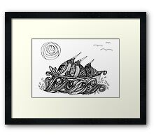 Wee Three Hit the Waves Framed Print