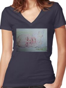 Baby Moses on the River Women's Fitted V-Neck T-Shirt