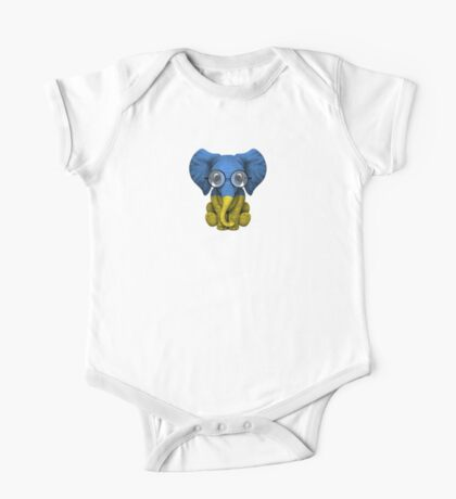 Baby Elephant with Glasses and Ukrainian Flag One Piece - Short Sleeve