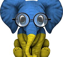 Baby Elephant with Glasses and Ukrainian Flag by Jeff Bartels
