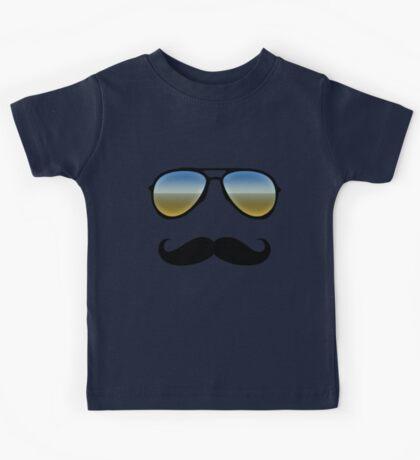 Aviator Sunglasses and Handlebar Mustache Kids Tee