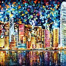 hong kong - oil painting by Leonid Afremov by Leonid  Afremov