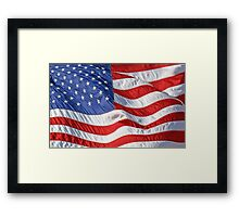 Waving American Flag Close-Up Framed Print