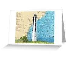 Cape Romain Lighthouse SC Nautical Chart Map Peek Greeting Card