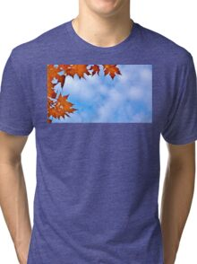 Backlit Maple Leaves in the Cloudy Sky Tri-blend T-Shirt