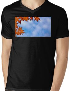 Backlit Maple Leaves in the Cloudy Sky Mens V-Neck T-Shirt