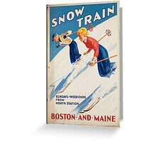 Vintage poster - snow train Greeting Card