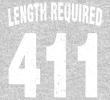 Team shirt - 411 Length Required, white letters One Piece - Long Sleeve
