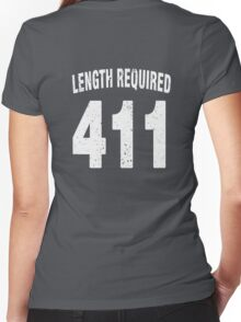 Team shirt - 411 Length Required, white letters Women's Fitted V-Neck T-Shirt