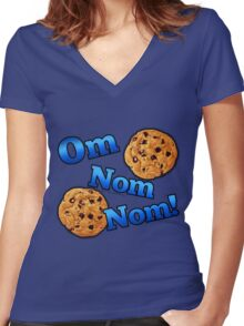 Om Nom Nom, Yummy Cookies Women's Fitted V-Neck T-Shirt