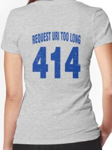 Team shirt - 414 Request URI Too Long, blue letters Women's Fitted V-Neck T-Shirt
